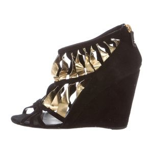 Chanel gold black suede strappy sandal wedge 39 8